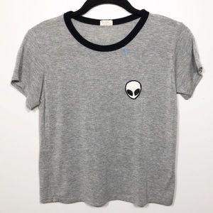 Brandy Melville Alien Gray Black Crop Top T-shirt
